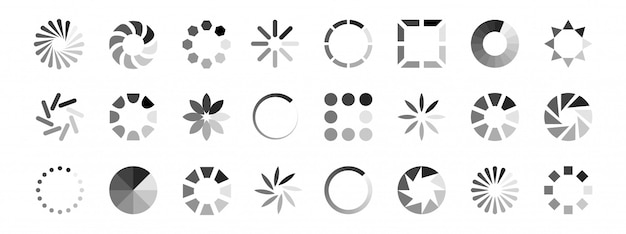 Web loading icons vector. load indicators isolated on white background Premium Vector