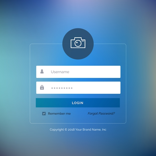 Web login template with blue button vector free download for Login page template in asp net