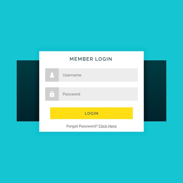 Web login template with red buttons vector | free download.