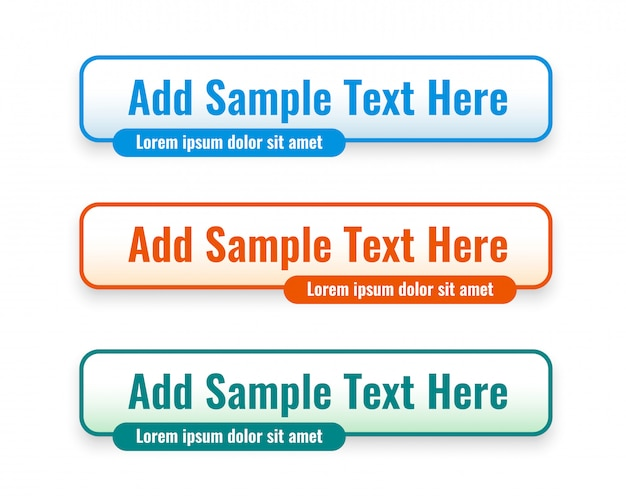 Web lower third banners set in three colors Free Vector