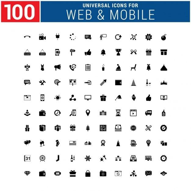 100 универсальный иконка Бесплатные векторы