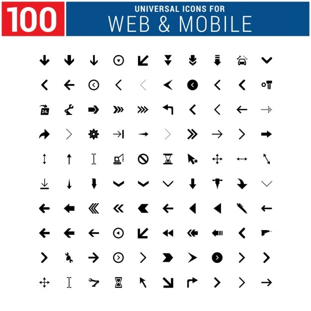 Web & mobile icons pack Free Vector