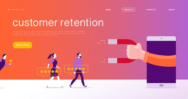 Web page concept design, customer retention theme. people give star rating positive feedback, human hand, magnet. landing page mobile app site template. business illustration. inbound marketing Premium Vector
