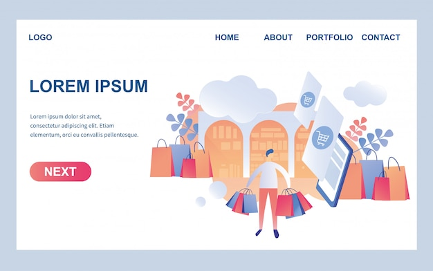 Web page design template for trendy storefront Premium Vector