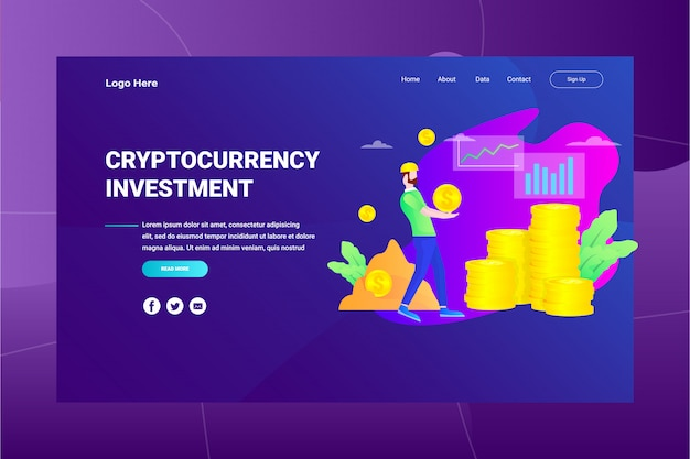 Web page header cryptocurrency investment illustration concept landing page Premium Vector
