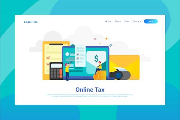 Web page header online tax illustration concept landing page Premium Vector