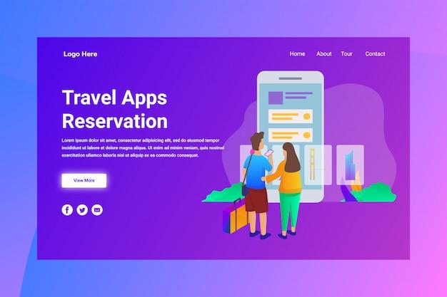 Web page header travel apps reservation illustration concept landing page Premium Vector
