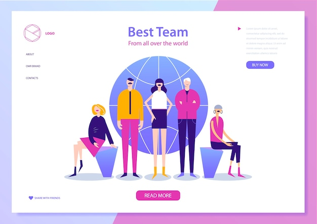Web page  template for project management, business communication, workflow and consulting. Premium Vector