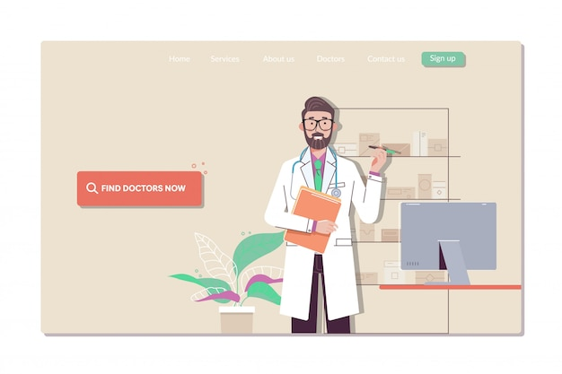 Web page templates collection of finding the closest doctor Premium Vector