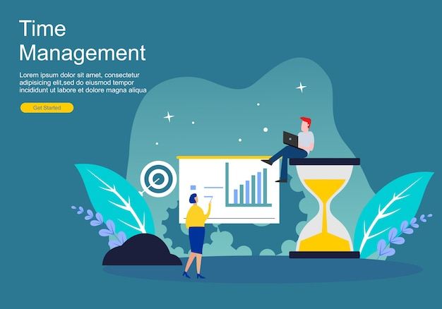 Web page time management and procrastination Premium Vector
