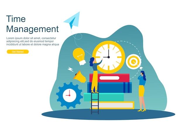 Web page time management and procrastination Premium Vector