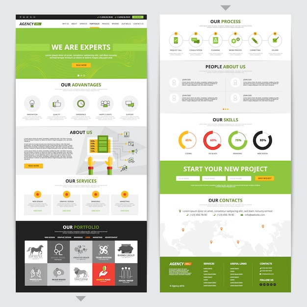 Web page vertical design set with new project symbols Free Vector
