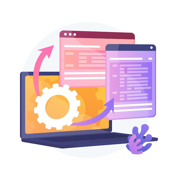 Web page visualization. protocol procedure. dynamic software workflow. full stack development, markup, administrate system. driver for shared memory. vector isolated concept metaphor illustration. Free Vector