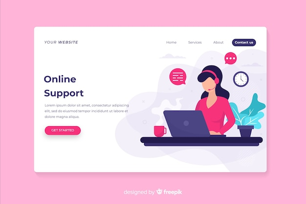 Web page with contact us design Free Vector