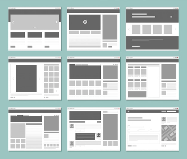 Web pages layout. internet browser windows with website elements interface ui template Premium Vector