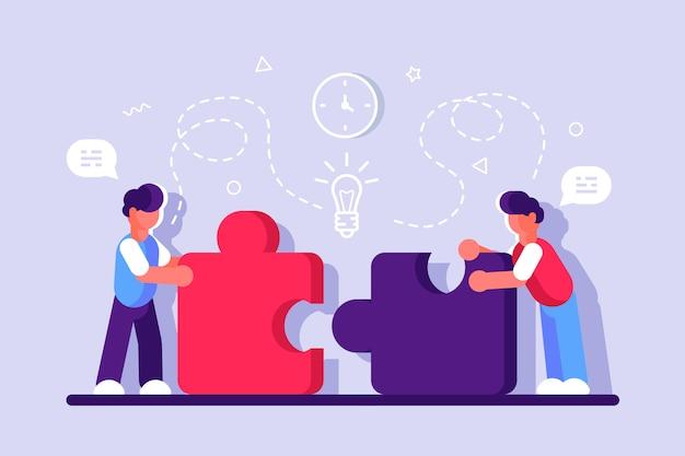 Webページのビジネスコンセプト。チームの比phor。パズル要素を接続する人々。ベクトル図フラット等尺性デザインスタイル。チームワーク、協力、パートナーシップの象徴。スタートアップの従業員。 Premiumベクター