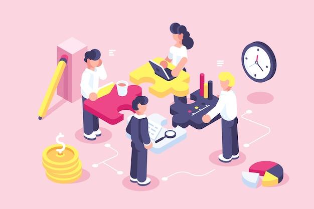 Webページのビジネスコンセプト。チームの比phor。パズル要素を接続する人々。ベクトル図のフラットなデザインスタイル。チームワーク、協力、パートナーシップの象徴。スタートアップの従業員。目標思考 Premiumベクター