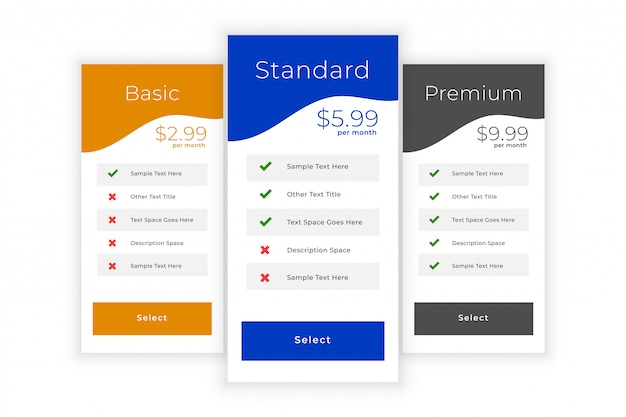 Web pricing table template for service comparison Free Vector