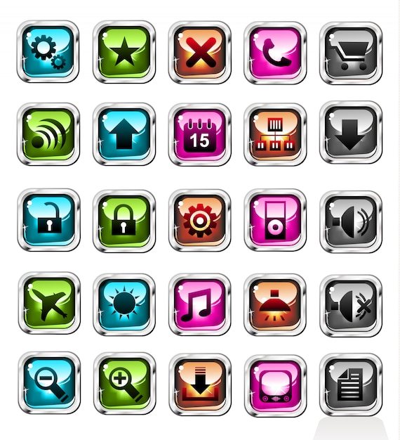 Web purchases buttons icon set Premium Vector