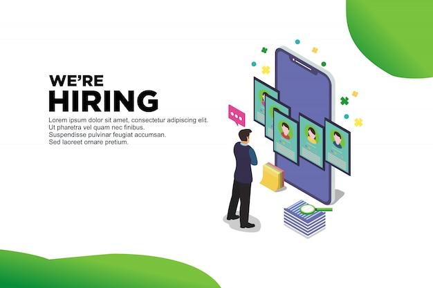 Web recruit resources Premium Vector