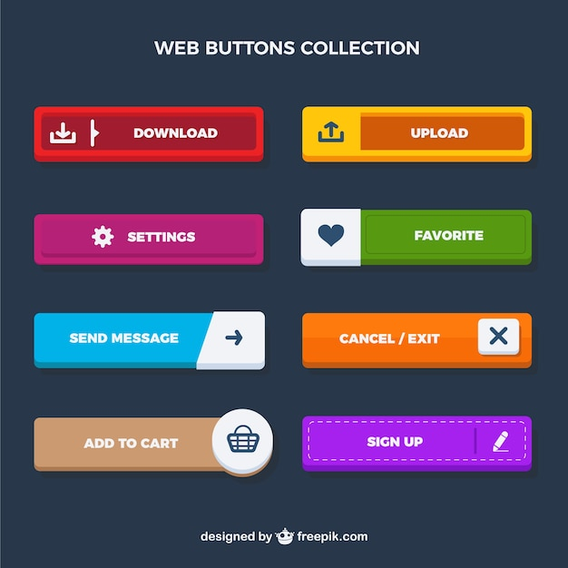 Web rectangular buttons collection Free Vector
