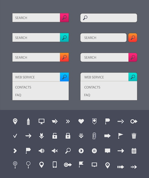 Web search bar  templates on dark background. set of icons in colorful bars or for graphic user interface on websites, applications, infographic. web icons collection Premium Vector