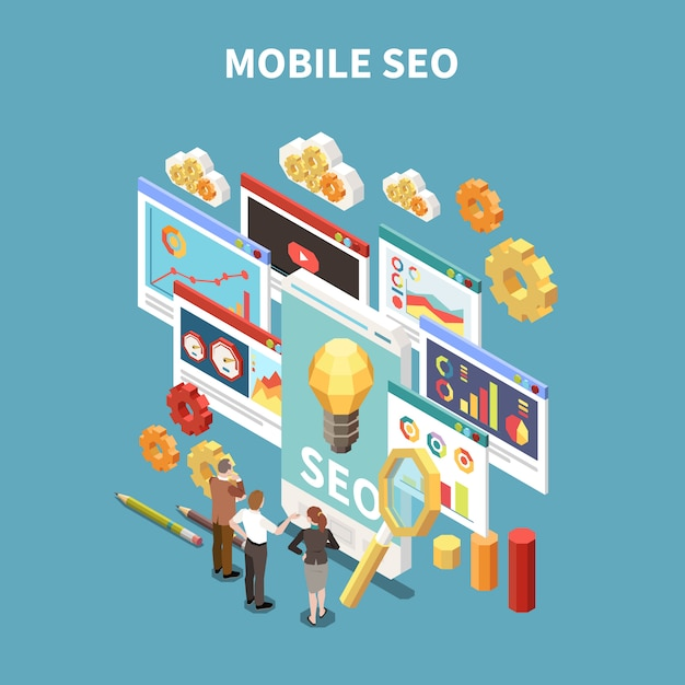 Web seo isometric and colored composition with mobile seo description and business meeting or brainstorming situation  illustration Free Vector