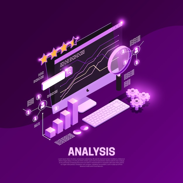 Web seo isometric composition with content analysis symbols  illustration Free Vector