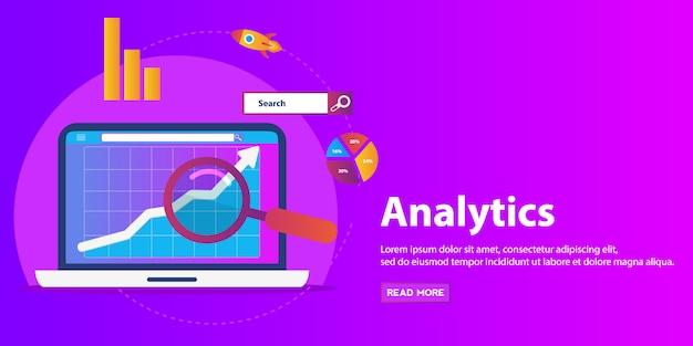 フラットの図web分析デザイン、seoの最適化。 Premiumベクター