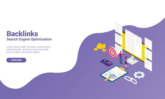 Webサイトテンプレートまたはランディングホームページのバックリンクseo検索エンジン最適化の概念 Premiumベクター