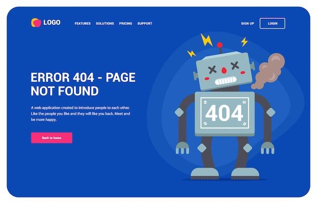 Web site error 404 with a broken robot. Premium Vector