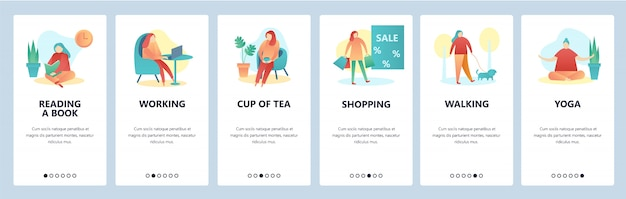 Web site onboarding screens. hobby and leisure activity. reading, walking, yoga, shopping. vector banner template Premium Vector