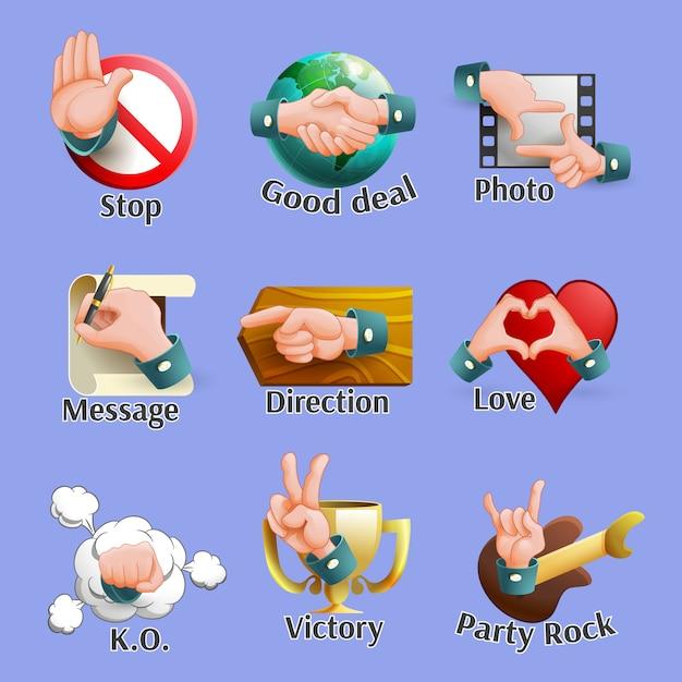 Web social gestures emblems set Free Vector