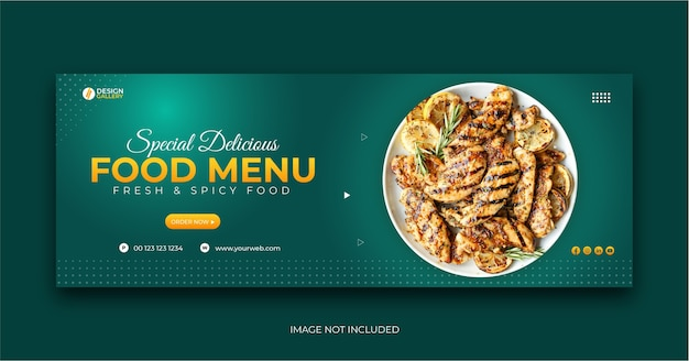 Web and social media fast food restaurant menu cover banner template Premium Vector