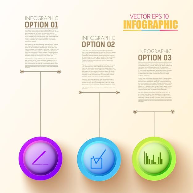 3 개의 다채로운 둥근 단추 및 비즈니스 아이콘 웹 단계 infographic 템플릿 무료 벡터