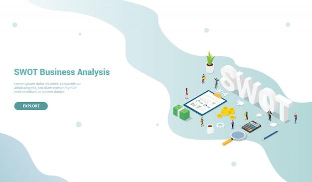 Webサイトテンプレートまたはリンク先ホームページのチームの人々とのビジネス分析概念をswotします。 Premiumベクター