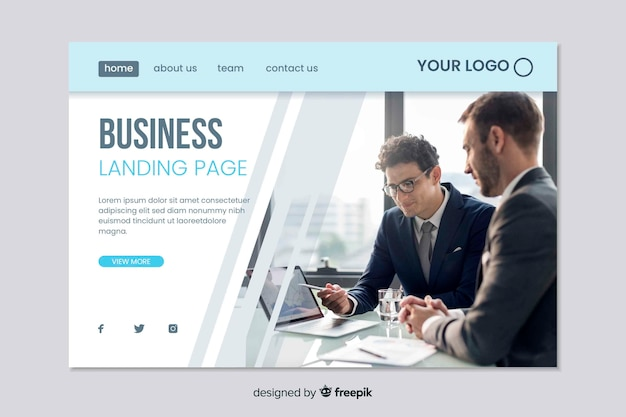 Web template for business landing page Free Vector