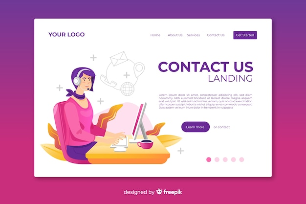 Web template contact us landing page Free Vector