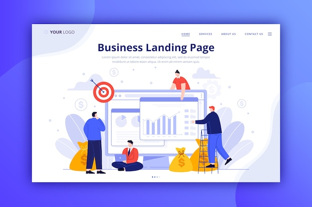 ビジネスのランディングページのwebテンプレート 無料ベクター