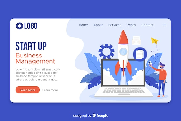 Web template start up landing page Free Vector