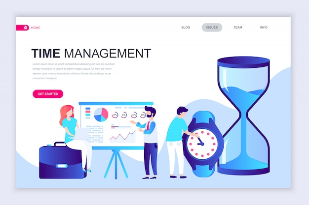 最新のフラットなwebページデザインテンプレートのtime management Premiumベクター