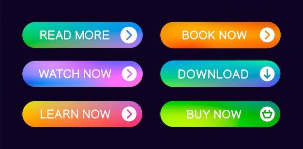 Webサイト、ui、アプリ、およびゲームインターフェイスで使用するための抽象的なプッシュボタンセット。最新のウェブ要素。 Premiumベクター