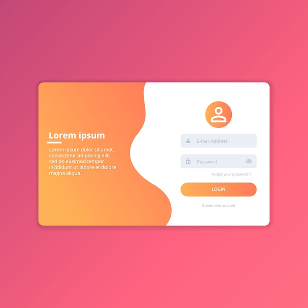 Webログインuiデザインテンプレートベクトル Premiumベクター