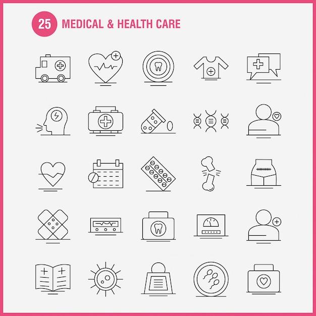 Web、印刷およびモバイルux / uiキットの医療およびヘルスケアラインアイコン。 Premiumベクター