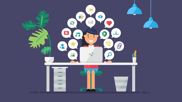 Web virtual social networks Premium Vector