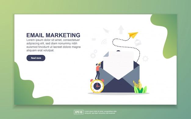 メールマーケティングのランディングページテンプレート。 webサイトおよびモバイルwebサイトのwebページデザインのモダンなフラットデザインコンセプト。 Premiumベクター