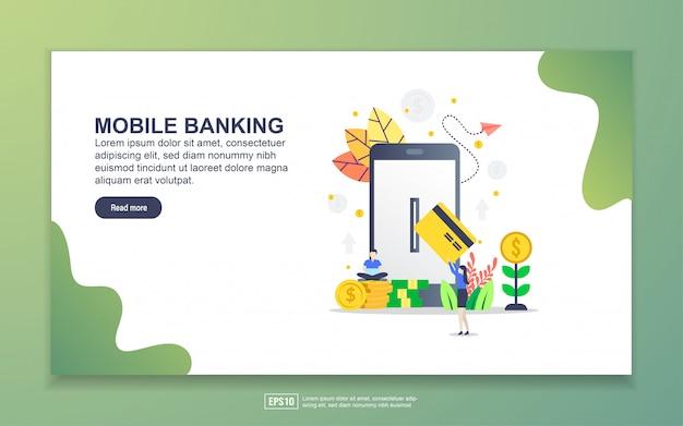 モバイルバンキングのランディングページテンプレート。 webサイトおよびモバイルwebサイトのwebページデザインのモダンなフラットデザインコンセプト。 Premiumベクター