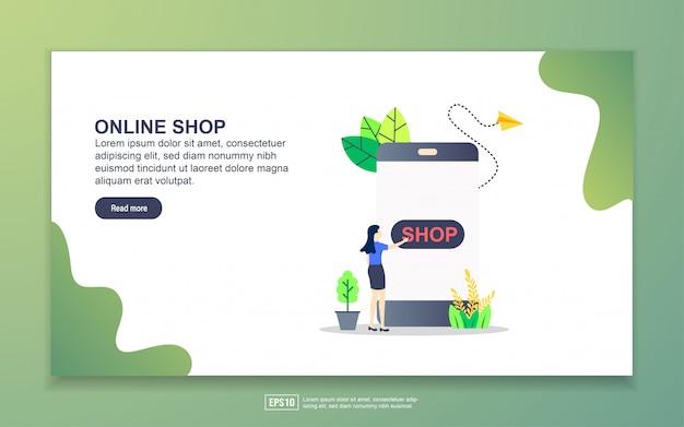 オンラインショップのランディングページテンプレート。 webサイトおよびモバイルwebサイトのwebページデザインのモダンなフラットデザインコンセプト。 Premiumベクター