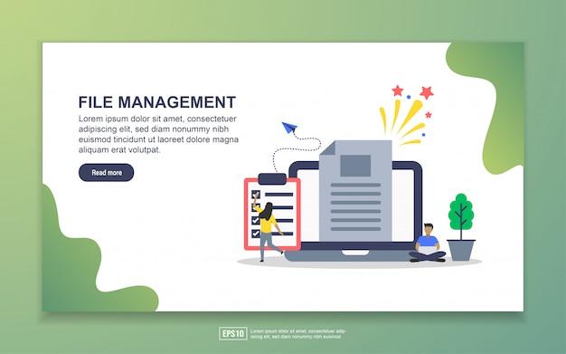 ファイル管理のランディングページテンプレート。 webサイトおよびモバイルwebサイトのwebページデザインのモダンなフラットデザインコンセプト Premiumベクター