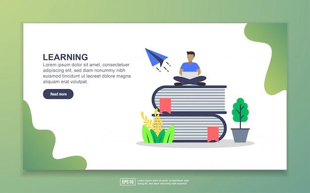 学習のランディングページテンプレート。 webサイトおよびモバイルwebサイトのwebページデザインのモダンなフラットデザインコンセプト Premiumベクター